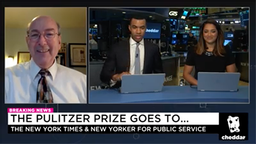 "Roy Harris in interviewed by Cheddar about the 2018 Pulitzer Prizes and his book ""Pulitzers Gold"""
